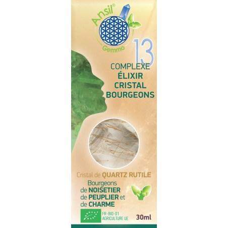 Etui Élixir de quartz rutile et bourgeons de noisetier, peuplier, charme - N°13 - 30 ml - Ansil - 2021