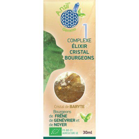Etui Complexe N°1 - élixir de baryte et bourgeons de frêne, genévrier, noyer Bio - 30 ml - Ansil - 2021