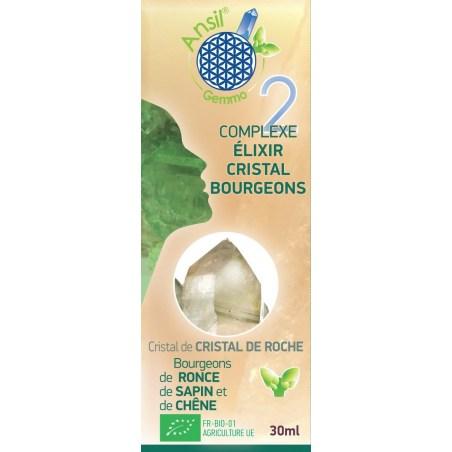 Étui  Élixir de cristal de roche et bourgeons de ronce, sapin, chêne -N°2 - 30 ml - Ansil -