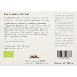 Notice Gelée Royale, Ginseng, Acérola Bio - 20 ampoules - L'Abeille Forestière