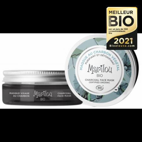 Masque Purifiant et Détoxifiant au Charbon Végétal - Pot de 75 ml - Marilou Bio - Meilleurs produits bio 2021