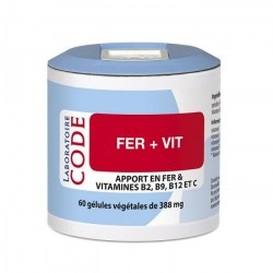 Fer + Vit - Pilulier de 60 gélules végétales - Laboratoire Code - 2021