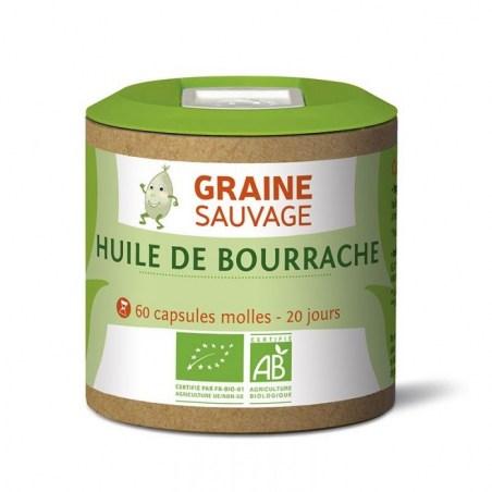 Huile de bourrache Bio - Pilulier de 60 capsules molles - Graine Sauvage - 2021