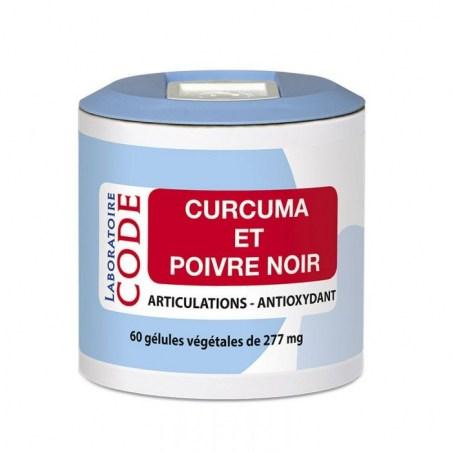 Extraits de curcuma et poivre noir - Pilulier de 60 gélules végétales - Laboratoire Code - 2021