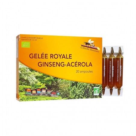 Gelée Royale, Ginseng, Acérola Bio - Boîte de 20 ampoules de 10 ml - L'Abeille Forestière - 2021
