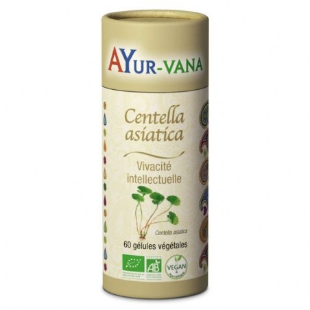 Centella Asiatica Bio (Gotu kola) - Pilulier de 60 gélules végétales - Ayurvana - 2021